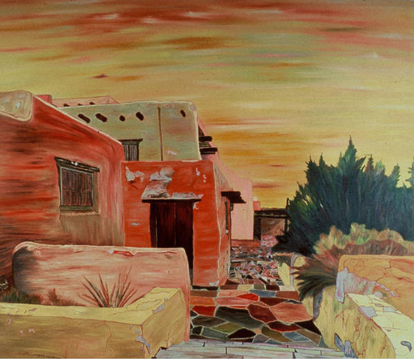 Landscape Art Print featuring the painting Mi Casa by Oudi Arroni