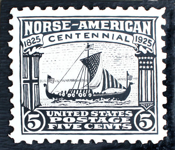 Ship Art Print featuring the painting Norse-american Centennial Stamp by James Neill