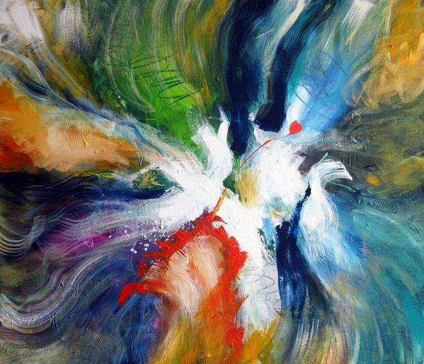 Abstract Original Modern Colorful Energetic Art Print featuring the painting Nostalgia by Dan Bunea