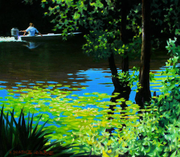 Calcasieu River Art Print featuring the painting On The Calcasieu by Kevin Lawrence Leveque