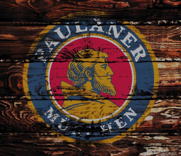 Paulaner Art Print featuring the mixed media Paulaner Beer Sign 1a by Brian Reaves