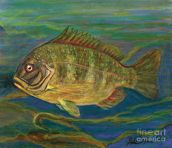 Folkartanna Art Print featuring the painting Predatory Fish by Anna Folkartanna Maciejewska-Dyba