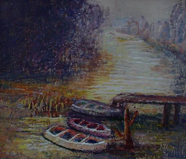 Boats Art Print featuring the painting Quiet Places by Helen Musser