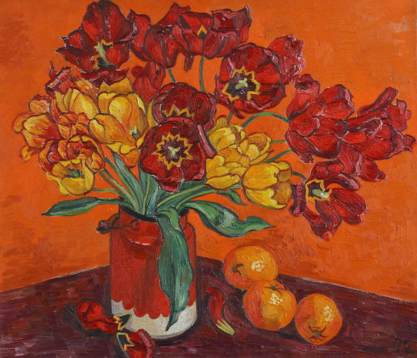 Tulips Art Print featuring the painting Red And Yellow Tulips And Oranges by Vitali Komarov