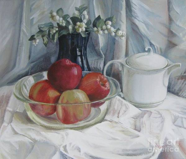 Still Life Art Print featuring the painting Red Apples by Elena Oleniuc