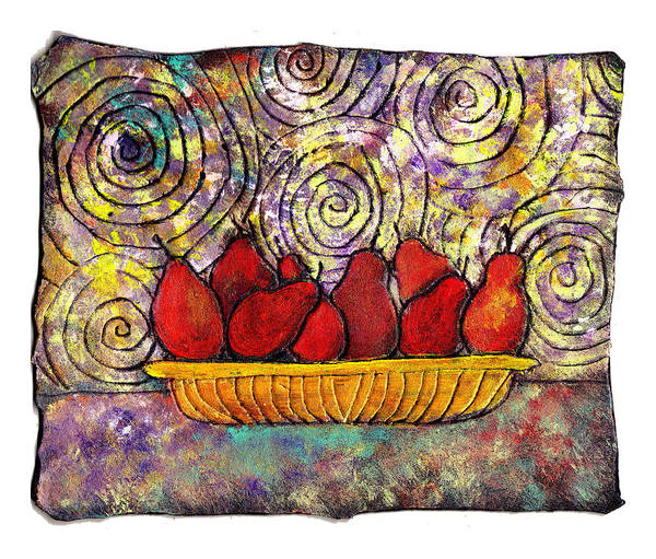 Spirals Art Print featuring the painting Red Pears In A Bowl by Wayne Potrafka