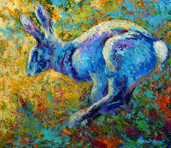 Rabbit Art Print featuring the painting Running Hare by Marion Rose