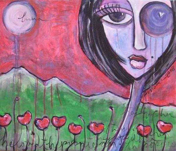 Poppies Art Print featuring the painting She Loved The Poppies by Laurie Maves ART