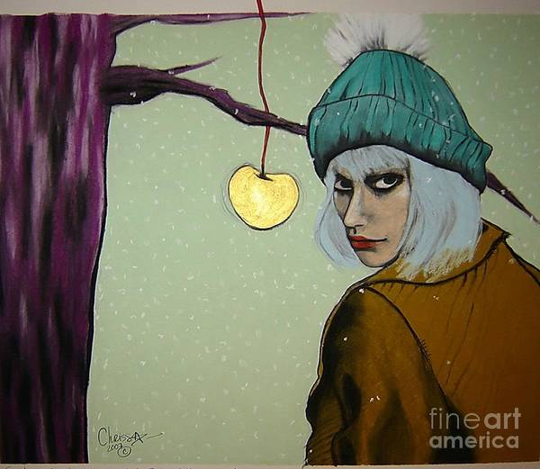 Apple Art Print featuring the drawing Sometimes A Girl Just Wants A Little Bite Of The Golden Apple by Chrissa Arazny- Nordquist