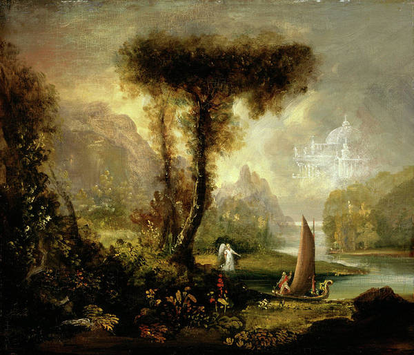 1a24ac7132 Study Art Print featuring the painting Study For The Voyage Of Life Youth  by Thomas Cole