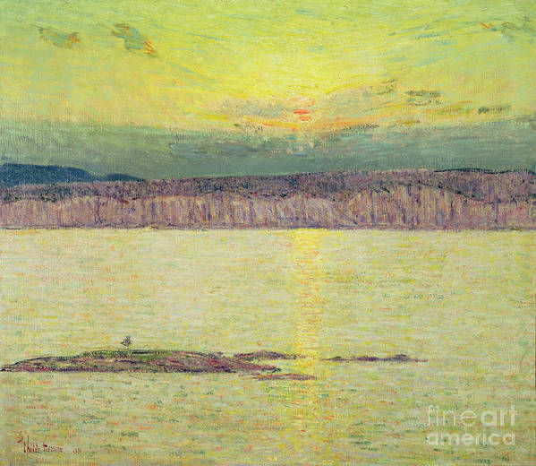 Sunset Ironbound Art Print featuring the painting Sunset by Childe Hassam