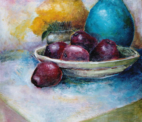 Jar Art Print featuring the painting The Blue Vase Iv by Jun Jamosmos