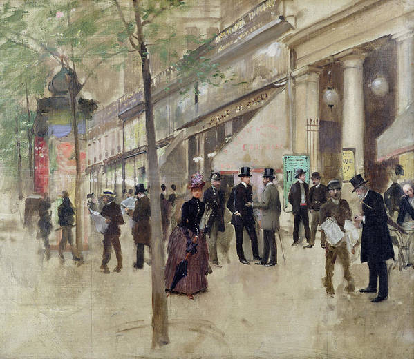 The Boulevard Montmartre And The Theatre Des Varietes Art Print featuring the painting The Boulevard Montmartre And The Theatre Des Varietes by Jean Beraud