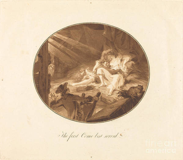 Art Print featuring the drawing The First Come Best Served by Antoine-fran?ois Sergent After Augustin De Saint-aubin