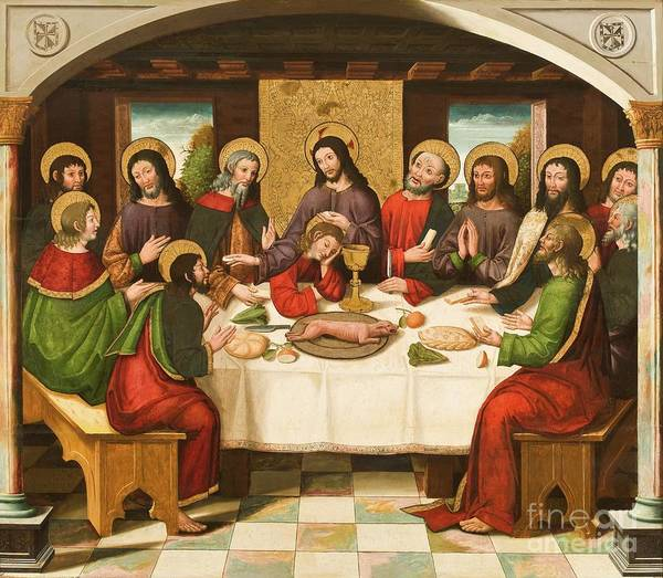 The Last Supper Art Print featuring the painting The Last Supper by Master of Portillo