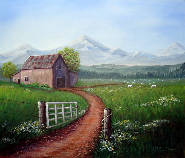 Mountains Art Print featuring the painting Through The Gate by SueEllen Cowan