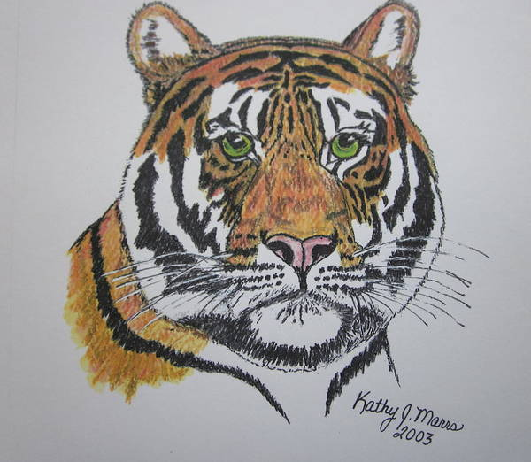 Bengal Art Print featuring the painting Tiger by Kathy Marrs Chandler