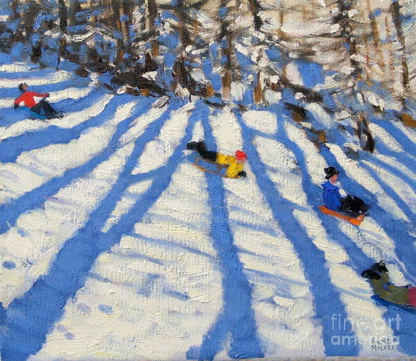 Sledging Print featuring the painting Tree Shadows Morzine by Andrew Macara