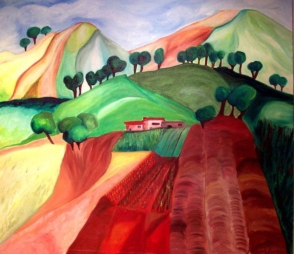 Abstract Art Print featuring the painting Tuscan Landscape by Patricia Arroyo
