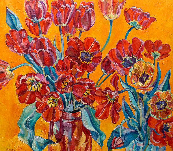 Still Life Art Print featuring the painting Two Bunches Of Red Tulips by Vitali Komarov