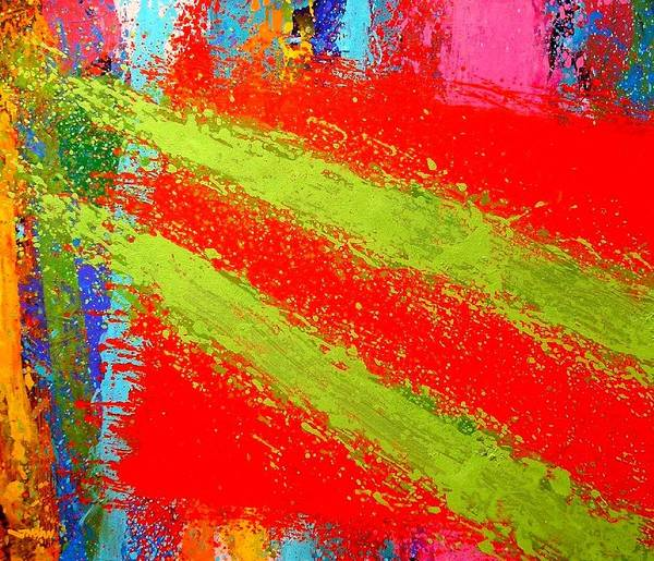 Abstract Irish Contemporary Modern Vibrant Music Jazz Artist Gallery Studio Red Green Colourful Acrylic Canvas Stylised Original Print Card Professional Art Auction Bid Art Print featuring the painting Unison by John Nolan