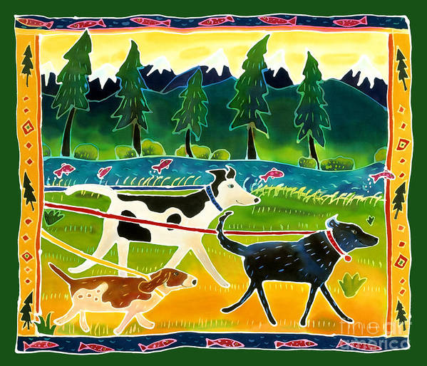 Dog Art Print featuring the painting Walk The Dogs by Harriet Peck Taylor