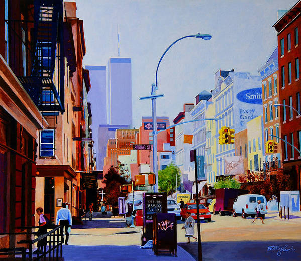 Spring Street Art Print featuring the painting West Broadway by John Tartaglione