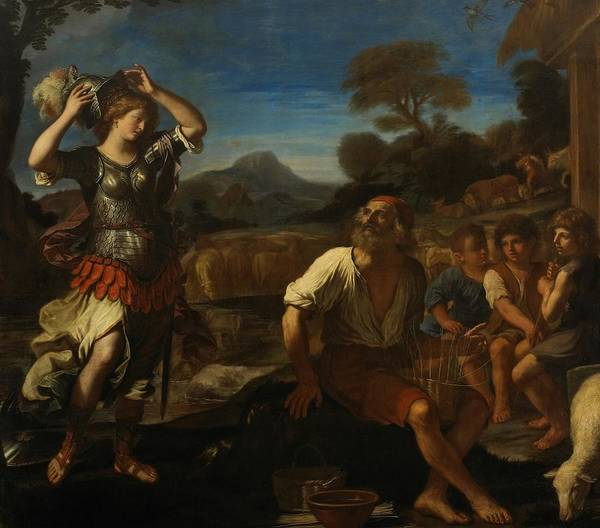 Erminia Print featuring the painting Erminia And The Shepherds by Giovanni Francesco Barbieri