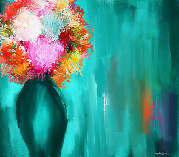 Turquoise Vase Art Print featuring the painting Intense Eloquence by Lourry Legarde