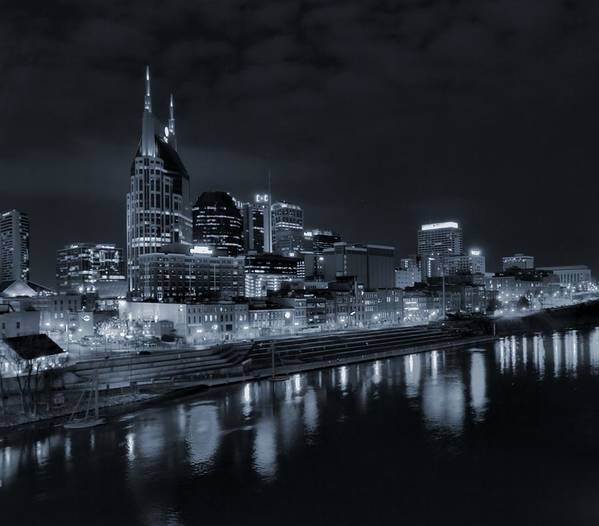 Nashville Skyline At Night In Black And White Art Print featuring the photograph Nashville Skyline At Night by Dan Sproul