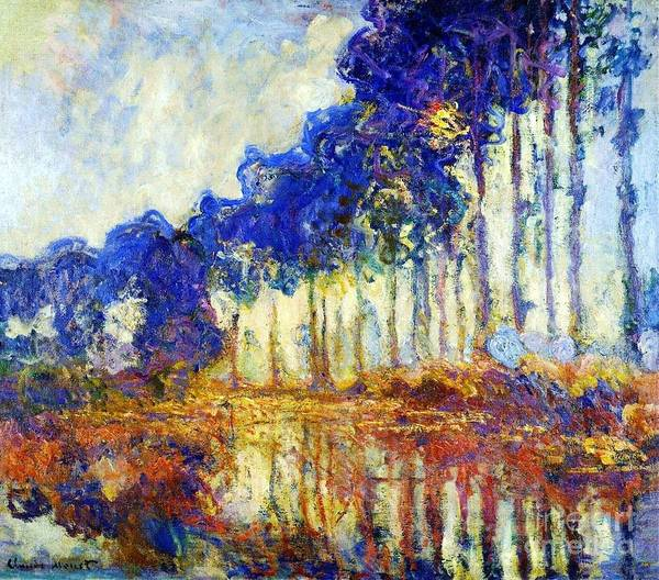 Pd Art Print featuring the painting Poplars On River Epte by Pg Reproductions