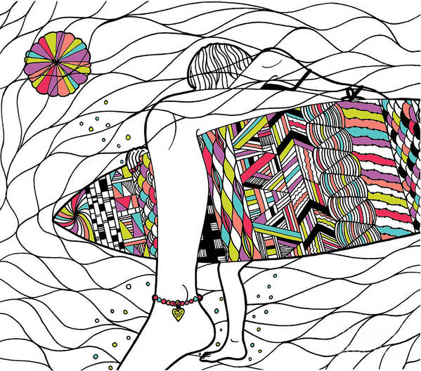 Surfer Girl Art Print featuring the digital art Surfer Girl by Susan Claire