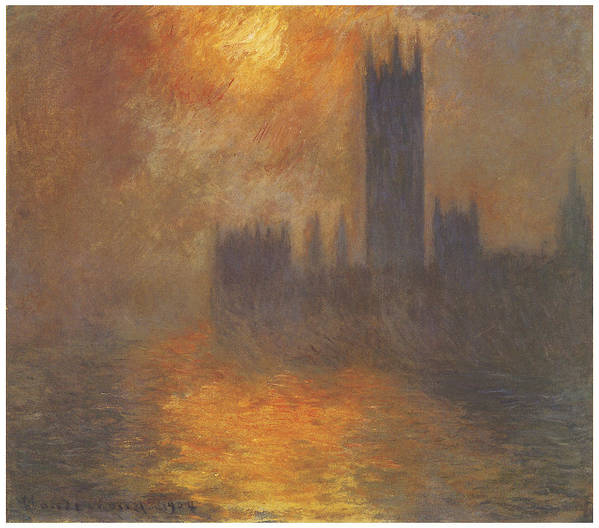The Houses Of Parliament Sunset Print featuring the painting The Houses Of Parliament Sunset by Claude Monet