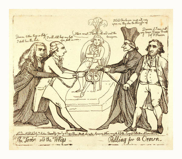 Tories Art Print featuring the drawing The Tories And The Whigs Pulling For A Crown by Welsh School