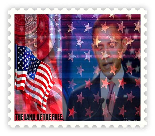 Fania Simon Print featuring the mixed media Barack A Stamp by Fania Simon