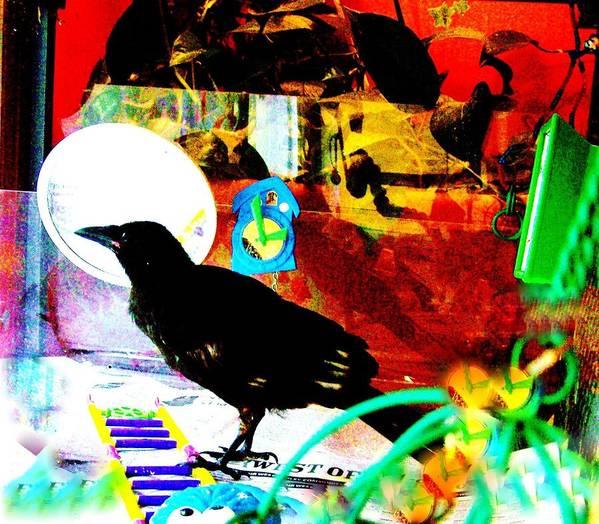Crow. Bird Music Print featuring the mixed media Crow's Piano by YoMamaBird Rhonda