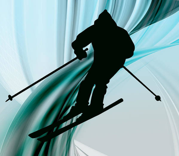 Ski Art Print featuring the painting Downhill Skiing On Icy Ribbons by Elaine Plesser