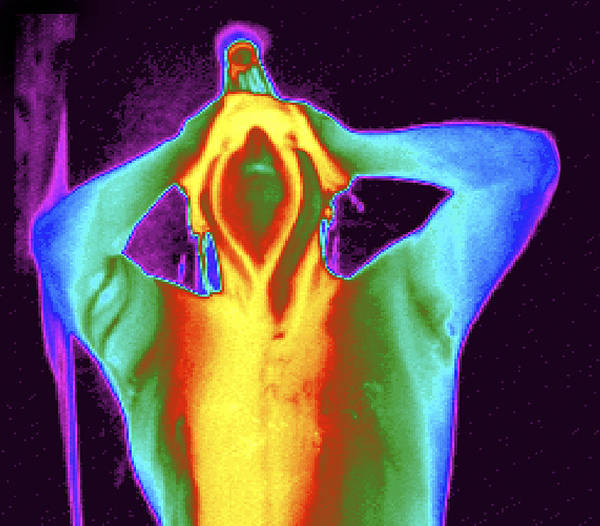 Thermogram Art Print featuring the photograph Thermogram Of A Man Taking A Shower by Dr. Arthur Tucker