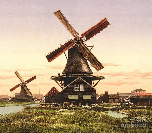 Two Holland Windmills Art Print featuring the photograph Two Holland Windmills by Padre Art