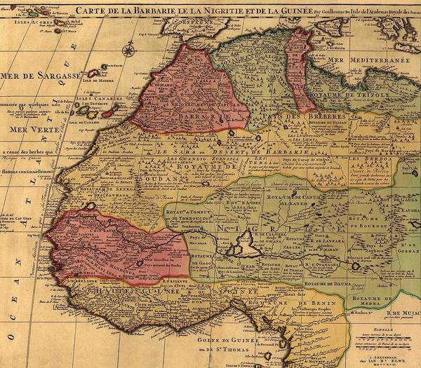 History Print featuring the photograph 1742 French Map Of Northwest Africa by Everett