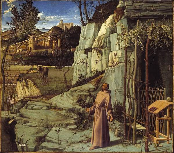 Giovanni Bellini Art Print featuring the painting St. Francis In The Desert by Giovanni Bellini