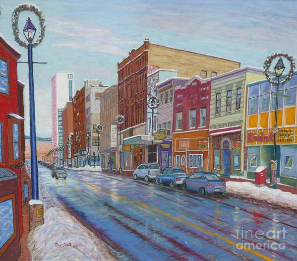 Landscape Art Print featuring the pastel Barrington St In Winter by Rae Smith