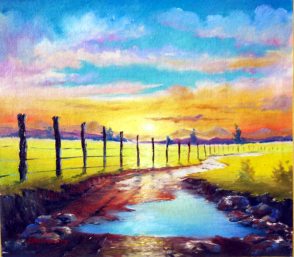 Landscape Art Print featuring the painting By The Sun In The Field by Leomariano artist BRASIL