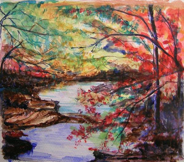 Creek Art Print featuring the painting Creek Blue Ridge Mountains by Lizzy Forrester