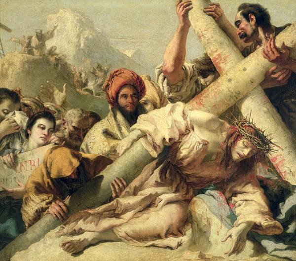 Christ's Fall On The Way To Calvary Art Print featuring the painting Fall On The Way To Calvary by G Tiepolo