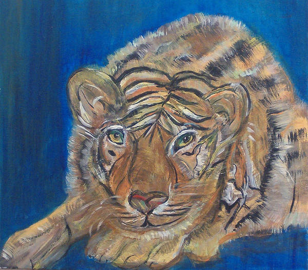 Tiger Art Print featuring the painting Contented Tiger by Mikki Alhart
