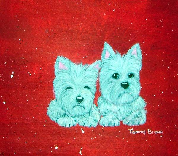 Westie Art Print featuring the painting Best Friends by Tammy Brown