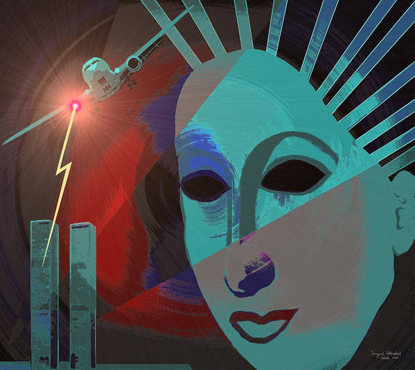 Nine-eleven Art Print featuring the painting 132 - Nine Eleven In My Mind by Irmgard Schoendorf Welch