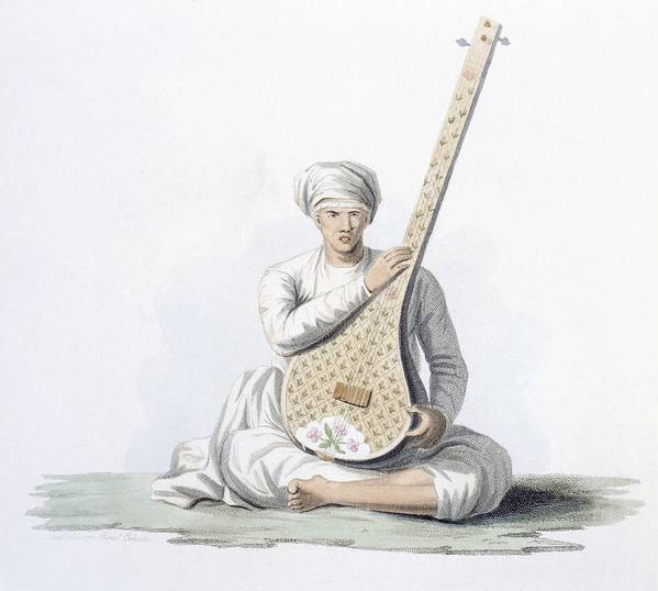 Tumboora Art Print featuring the painting A Tumboora, Musical Instrument Played by Franz Balthazar Solvyns