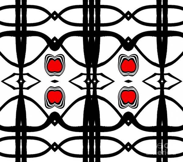 Abstract Art Art Print featuring the digital art Abstract Geometric Black White Red Pattern Art No.173. by Drinka Mercep